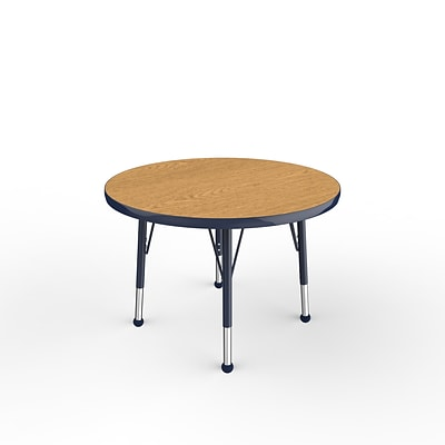 ECR4Kids Thermo-Fused Adjustable Ball 30 Round Laminate Activity Table Oak/Navy (ELR-14221-OKNVNVTB)