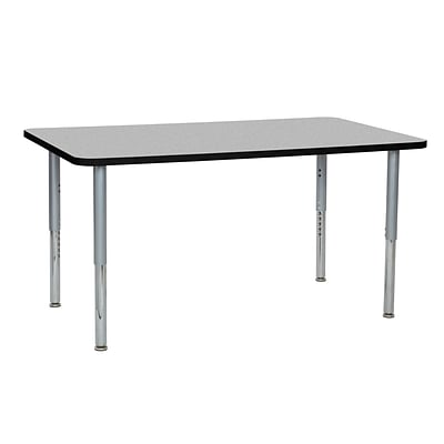 ECR4Kids Thermo-Fused Adjustable Leg 60 x 36 Rectangle Laminate Activity Table Grey/Black/Silver (ELR-14222-GYBKSVSL)