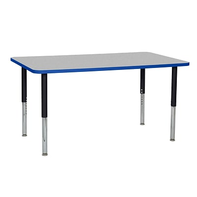 ECR4Kids Thermo-Fused Adjustable Leg 60 x 36 Rectangle Laminate Activity Table Grey/Blue/Black (ELR-14222-GYBLBKSL)