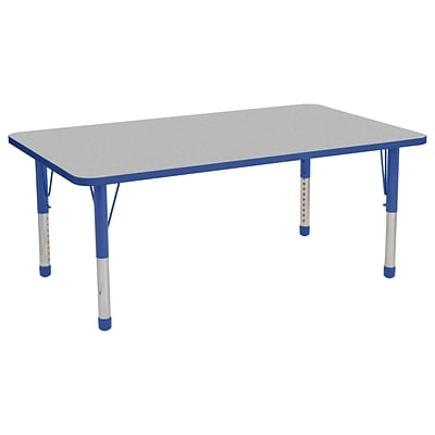 ECR4Kids Thermo-Fused Adjustable 60 x 36 Rectangle Laminate Activity Table Grey/Blue (ELR-14222-GYBLBLCH)