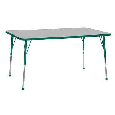 ECR4Kids Thermo-Fused Adjustable Ball 60 x 36 Rectangle Laminate Activity Table Grey/Green (ELR-14222-GYGNGNTB)