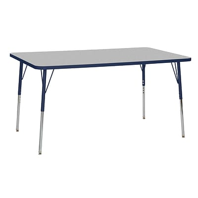ECR4Kids Thermo-Fused Adjustable Swivel 60 x 36 Rectangle Laminate Activity Table Grey/Navy (ELR-14222-GYNVNVSS)