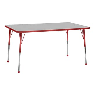 ECR4Kids T-Mold Adjustable Ball 60 x 36 Rectangle Laminate Activity Table Grey/Red (ELR-14122-GRD-