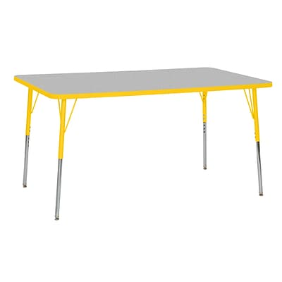ECR4Kids T-Mold Adjustable Swivel 60 x 36 Rectangle Laminate Activity Table Grey/Yellow (ELR-14122-GYE-SS)