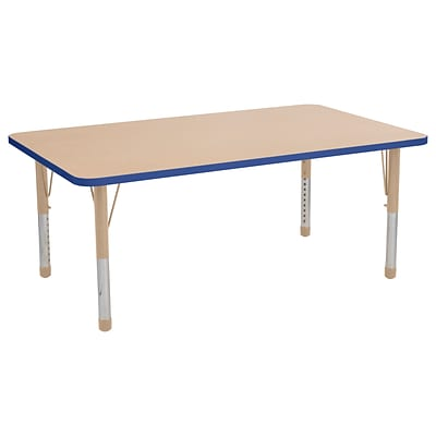 ECR4Kids Thermo-Fused Adjustable 60 x 36 Rectangle Laminate Activity Table Maple/Blue/Sand (ELR-14222-MPBLSDCH)