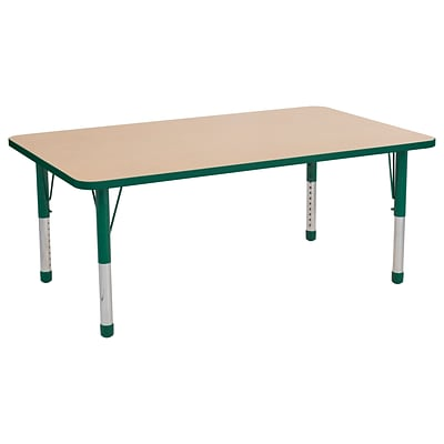 ECR4Kids Thermo-Fused Adjustable 60 x 36 Rectangle Laminate Activity Table Maple/Green (ELR-14222-MPGNGNCH)