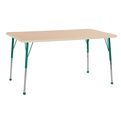 ECR4Kids Thermo-Fused Adjustable Ball 60 x 36 Rectangle Laminate Activity Table Maple/Maple/Green (ELR-14222-MPMPGNTB)