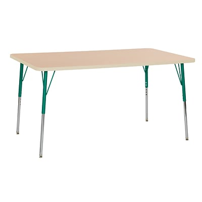 ECR4Kids Thermo-Fused Adjustable Swivel 60 x 36 Rectangle Laminate Activity Table Maple/Maple/Green (ELR-14222-MPMPGNTS)