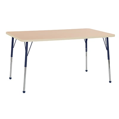 ECR4Kids Thermo-Fused Adjustable Ball 60 x 36 Rectangle Laminate Activity Table Maple/Maple/Navy (ELR-14222-MPMPNVTB)