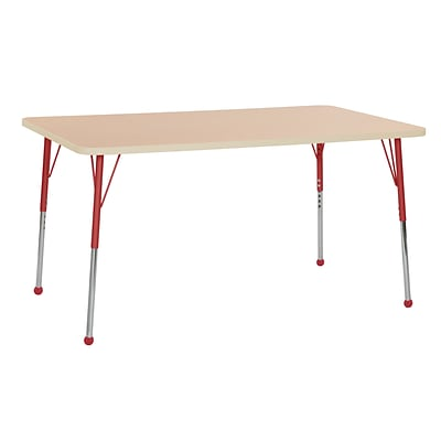 ECR4Kids Thermo-Fused Adjustable Ball 60 x 36 Rectangle Laminate Activity Table Maple/Maple/Red (ELR-14222-MPMPRDSB)