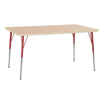 ECR4Kids Thermo-Fused Adjustable Swivel 60 x 36 Rectangle Laminate Activity Table Maple/Maple/Red (ELR-14222-MPMPRDSS)