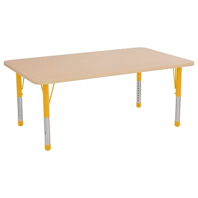 ECR4Kids Thermo-Fused Adjustable 60 x 36 Rectangle Laminate Activity Table Maple/Maple/Yellow (ELR-14222-MPMPYECH)