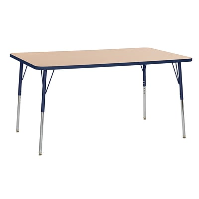 ECR4Kids Thermo-Fused Adjustable Swivel 60 x 36 Rectangle Laminate Activity Table Maple/Navy (ELR-14222-MPNVNVTS)