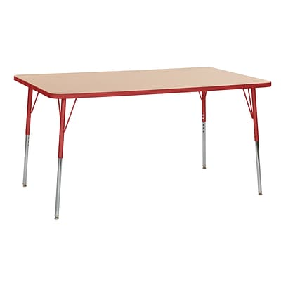 ECR4Kids Thermo-Fused Adjustable Swivel 60 x 36 Rectangle Laminate Activity Table Maple/Red (ELR-14222-MPRDRDSS)