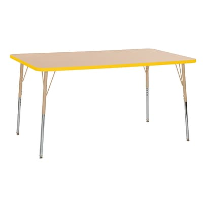 ECR4Kids Thermo-Fused Adjustable Swivel 60 x 36 Rectangle Laminate Activity Table Maple/Yellow/Sand (ELR-14222-MPYESDSS)