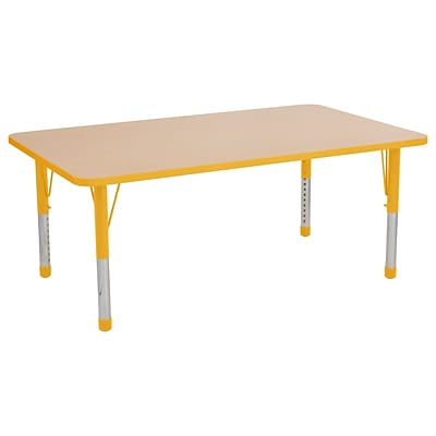 ECR4Kids T-Mold Adjustable 60 x 36 Rectangle Laminate Activity Table Maple/Yellow (ELR-14122-MYE-C)