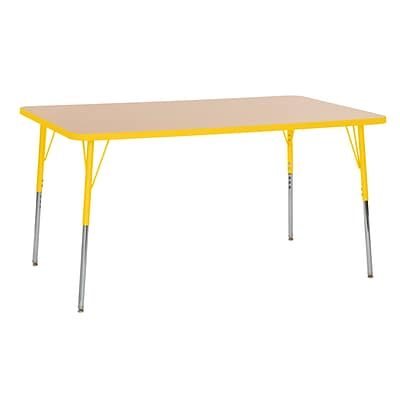 ECR4Kids Thermo-Fused Adjustable Swivel 60 x 36 Rectangle Laminate Activity Table Maple/Yellow (ELR-14222-MPYEYESS)