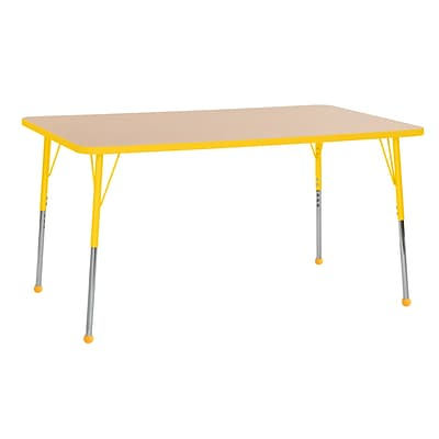 ECR4Kids Thermo-Fused Adjustable Ball 60 x 36 Rectangle Laminate Activity Table Maple/Yellow (ELR-14222-MPYEYETB)
