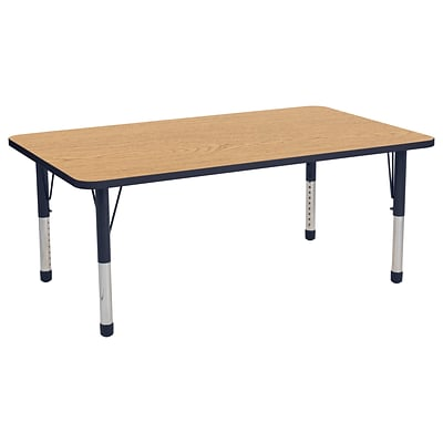 ECR4Kids Thermo-Fused Adjustable 60 x 36 Rectangle Laminate Activity Table Oak/Navy (ELR-14222-OKNVNVCH)