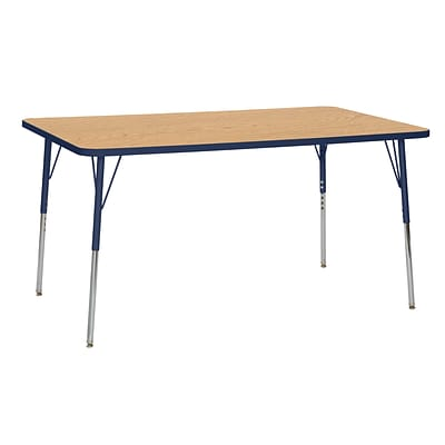 ECR4Kids Thermo-Fused Adjustable Swivel 60 x 36 Rectangle Laminate Activity Table Oak/Navy (ELR-14222-OKNVNVTS)