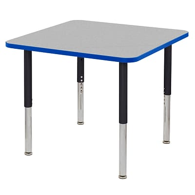 ECR4Kids Thermo-Fused Adjustable Leg 36 Square Laminate Activity Table Grey/Blue/Black (ELR-14223-GYBLBKSL)