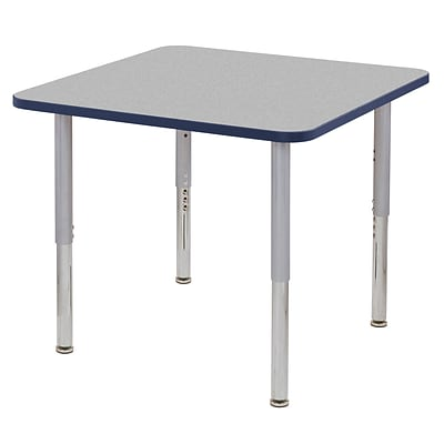 ECR4Kids T-Mold Adjustable Leg 36 Square Laminate Activity Table Grey/Navy/Silver (ELR-14123-GNVSV-SL)