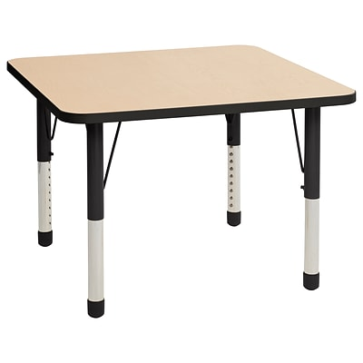 ECR4Kids Thermo-Fused Adjustable 36 Square Laminate Activity Table Maple/Black (ELR-14223-MPBKBKCH)