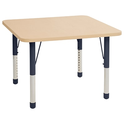 ECR4Kids T-Mold Adjustable 36 Square Laminate Activity Table Maple/Maple/Navy (ELR-14123-MMNV-C)