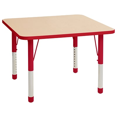 ECR4Kids Thermo-Fused Adjustable 36 Square Laminate Activity Table Maple/Red (ELR-14223-MPRDRDCH)