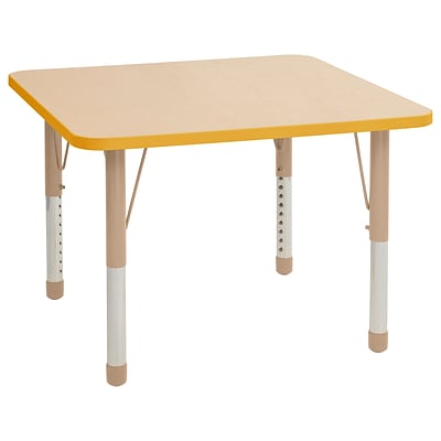 ECR4Kids Thermo-Fused Adjustable 36 Square Laminate Activity Table Maple/Yellow/Sand (ELR-14223-MPYESDCH)