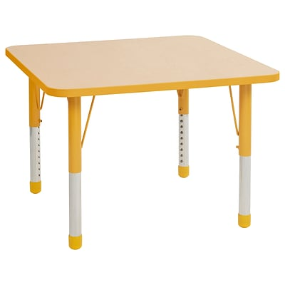 ECR4Kids Thermo-Fused Adjustable 36 Square Laminate Activity Table Maple/Yellow (ELR-14223-MPYEYECH)