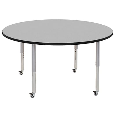 ECR4Kids Thermo-Fused Adjustable Leg 60 Round Laminate Activity Table Grey/Black/Silver (ELR-14224-GYBKSVSL)