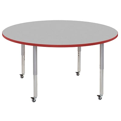 ECR4Kids Thermo-Fused Adjustable Leg 60 Round Laminate Activity Table Grey/Red/Silver (ELR-14224-GYRDSVSL)