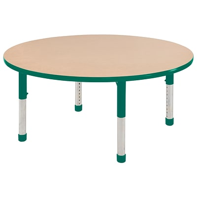 ECR4Kids Thermo-Fused Adjustable 60 Round Laminate Activity Table Maple/Green (ELR-14224-MPGNGNCH)