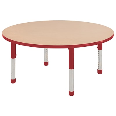 ECR4Kids Thermo-Fused Adjustable 60 Round Laminate Activity Table Maple/Red (ELR-14224-MPRDRDCH)