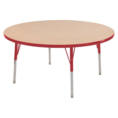 ECR4Kids Thermo-Fused Adjustable Swivel 60 Round Laminate Activity Table Maple/Red (ELR-14224-MPRDRDSS)