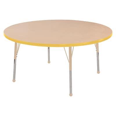 ECR4Kids T-Mold Adjustable Ball 60 Round Laminate Activity Table Maple/Yellow/Sand (ELR-14124-MYESD-TB)