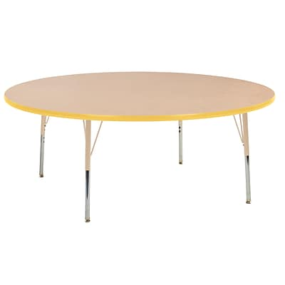 ECR4Kids T-Mold Adjustable Swivel 60 Round Laminate Activity Table Maple/Yellow/Sand (ELR-14124-MYESD-SS)
