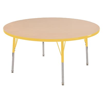 ECR4Kids Thermo-Fused Adjustable Swivel 60 Round Laminate Activity Table Maple/Yellow (ELR-14224-MPYEYETS)