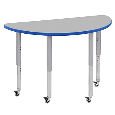 ECR4Kids T-Mold Adjustable Leg 48 x 24 Half-Round Laminate Activity Table Grey/Blue/Silver (ELR-14125-GBLSV-SL)