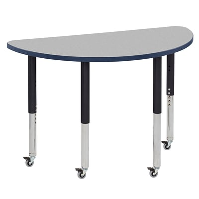 ECR4Kids T-Mold Adjustable Leg 48 x 24 Half-Round Laminate Activity Table Grey/Navy/Black (ELR-14125-GNVBK-SL)