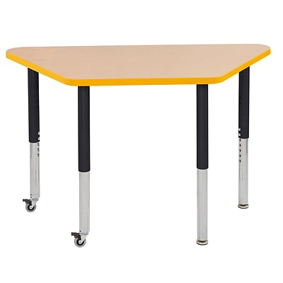 ECR4Kids Thermo-Fused Adjustable Leg 48 x 24 Trapezoid Laminate Activity Table Maple/Yellow/Black (ELR-14226-MPYEBKSL)