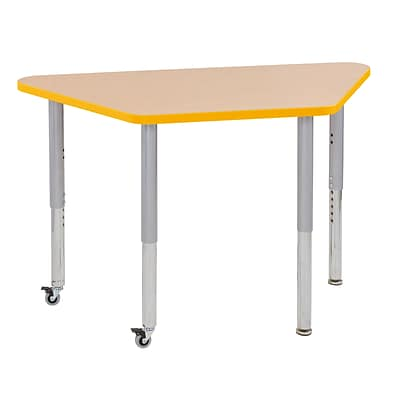 ECR4Kids T-Mold Adjustable Leg 48 x 24 Trapezoid Laminate Activity Table Maple/Yellow/Silver (ELR-14126-MYESV-SL)