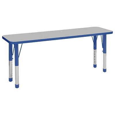 ECR4Kids Thermo-Fused Adjustable 60 x 18 Rectangle Laminate Activity Table Grey/Blue (ELR-14227-GYBLBLCH)