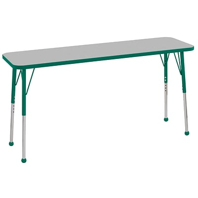 ECR4Kids Thermo-Fused Adjustable Ball 60 x 18 Rectangle Laminate Activity Table Grey/Green (ELR-14227-GYGNGNSB)
