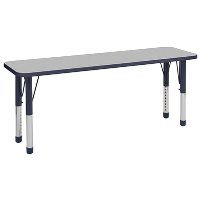 ECR4Kids Thermo-Fused Adjustable 60 x 18 Rectangle Laminate Activity Table Grey/Navy (ELR-14227-GYNVNVCH)