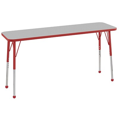 ECR4Kids Thermo-Fused Adjustable Ball 60 x 18 Rectangle Laminate Activity Table Grey/Red (ELR-14227-GYRDRDSB)