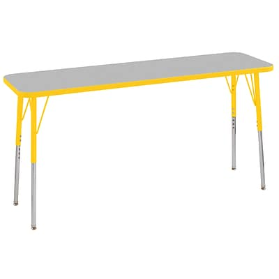 ECR4Kids T-Mold Adjustable Swivel 60 x 18 Rectangle Laminate Activity Table Grey/Yellow (ELR-14127-GYE-SS)