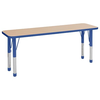 ECR4Kids T-Mold Adjustable 60 x 18 Rectangle Laminate Activity Table Maple/Blue (ELR-14127-MBL-C)