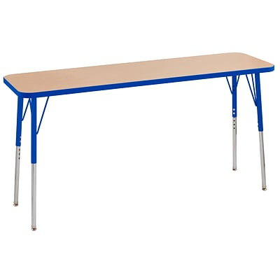 ECR4Kids T-Mold Adjustable Swivel 60 x 18 Rectangle Laminate Activity Table Maple/Blue (ELR-14127-MBL-SS)